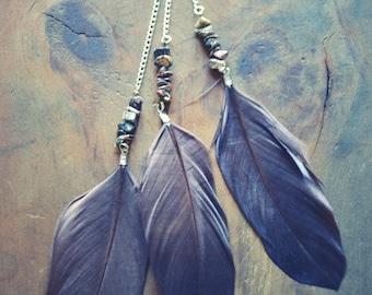 Gypsy Stone Long Feather Earring