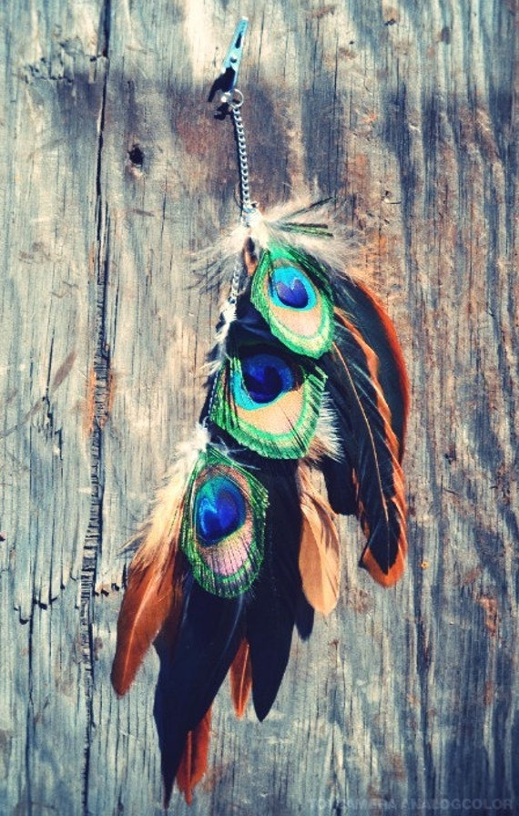 Wild Winds Multi colored peacock feather hair clip
