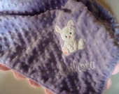 Personalized minky baby blanket- lavender and pink baby bunny- lovey blanket