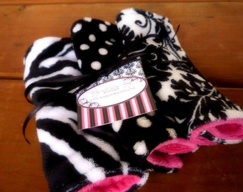 Lil Washies- set of three mixed black and white print baby wash cloths-  ALL minky