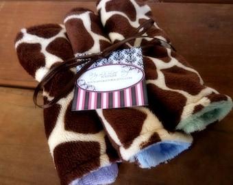 Lil Washies- set of three brown giraffe print wash cloths- ALL minky baby wipes