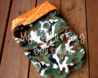Minky swaddle blanket- orange with green and brown camoflage- baby minky swaddle wrap READY TO SHIP