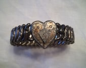 Vintage Antique Sterling Silver American Queen Sweetheart Bracelet