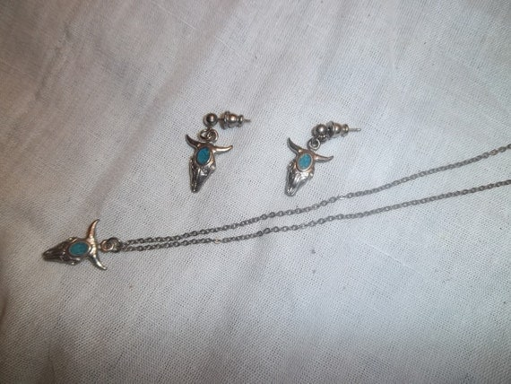 Vintage Silver Toned Cow Buffalo Skull and Turquoise Set
