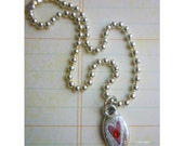 believe - with little handpainted red heart charm ooak