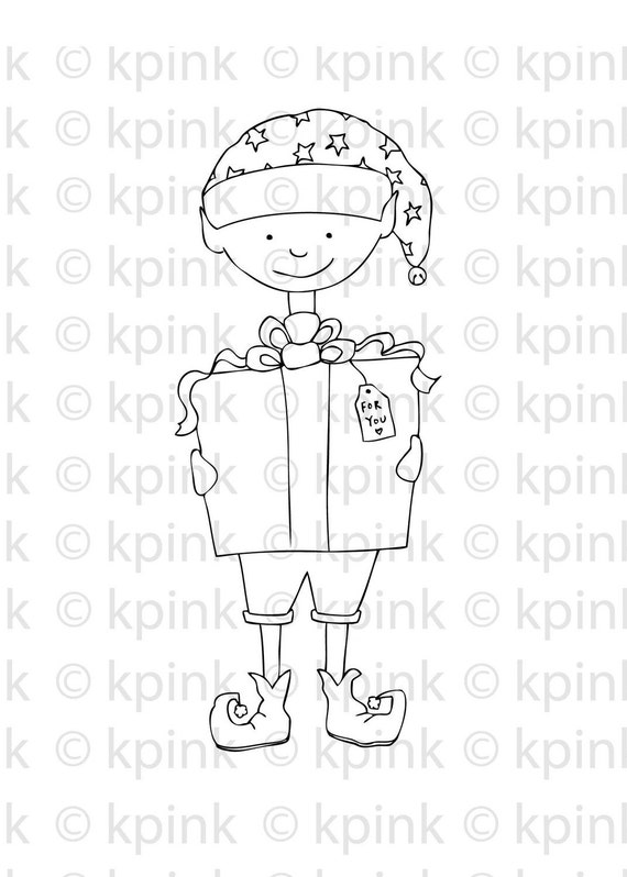 elf presents original illustration download black & white image to color and craft