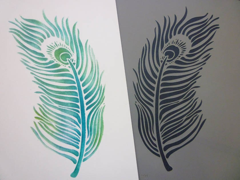 Peacock feather stencil for Peacock feather template
