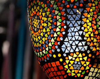 Photo of Colorful Mosaic Glass Lantern in Jerusalem, Israel (color photograph, various sizes)