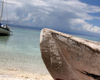 """A Boat, Blue Water, and the Ocean off the Coast of Haiti, Overlooking La Gonave (8"""" x 10"""" photograph)"""