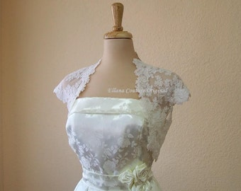 Vintage Inspired Bolero Jacket. Beautiful Alencon Lace.