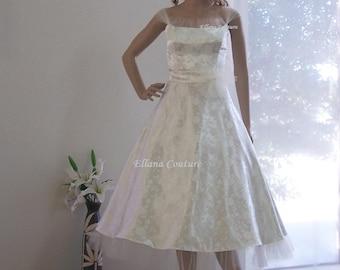 Raisel - Romantic Vintage Inspired Tea Length Wedding Dress.
