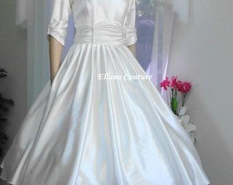 SAMPLE SALE. Claudia - Retro Style Tea Length Bridal Gown. Vintage Inspired Satin Wedding Dress.