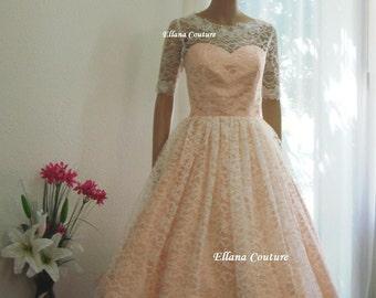 Plus Size. Isabella - Retro Inspired Tea Length Wedding Dress.