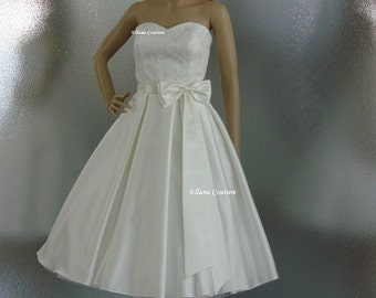 Aster - GORGEOUS Vintage Inspired Wedding Gown. Tea Length.