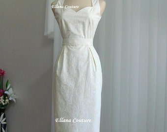 Pamela - Cotton Wedding Dress. Feminine Vintage Inspired Design.