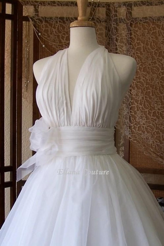 Retro inspired tea length wedding dress vintage style bridal for Wedding dress on etsy