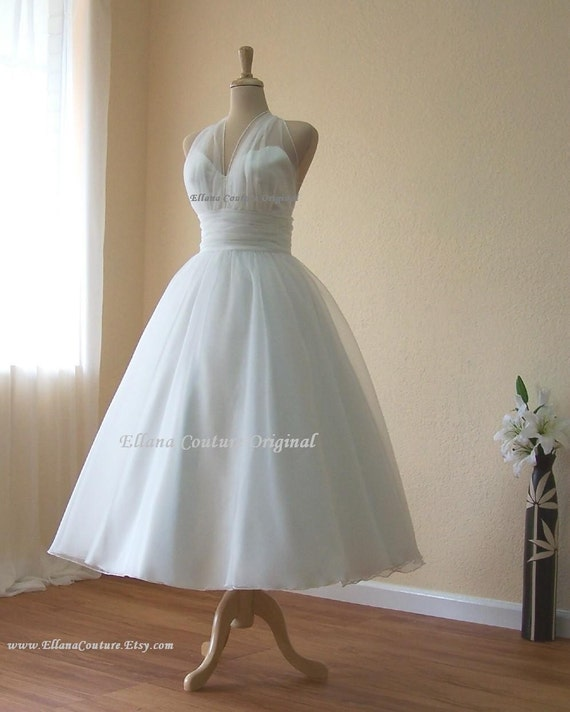 Retro inspired tea length wedding dress vintage style organza for Retro tea length wedding dresses