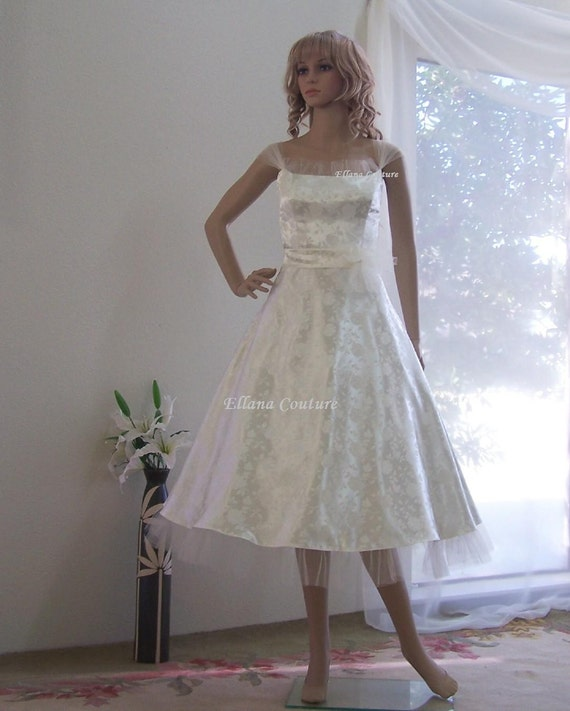 Items similar to raisel romantic vintage inspired tea for Etsy tea length wedding dress