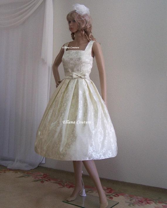 Rosette Vintage Inspired Tea Length Wedding By EllanaCouture