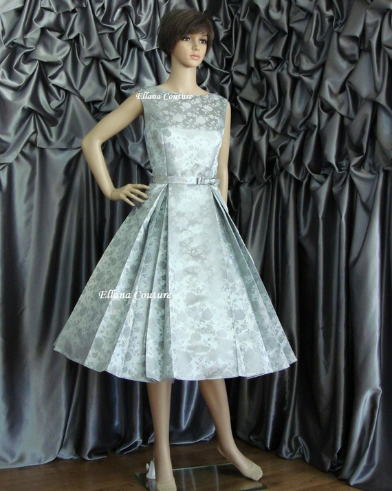 Special Order for Jennifer. Betty - Vintage Style Tea Length Wedding Dress. Beautiful Brocade. READY TO SHIP.