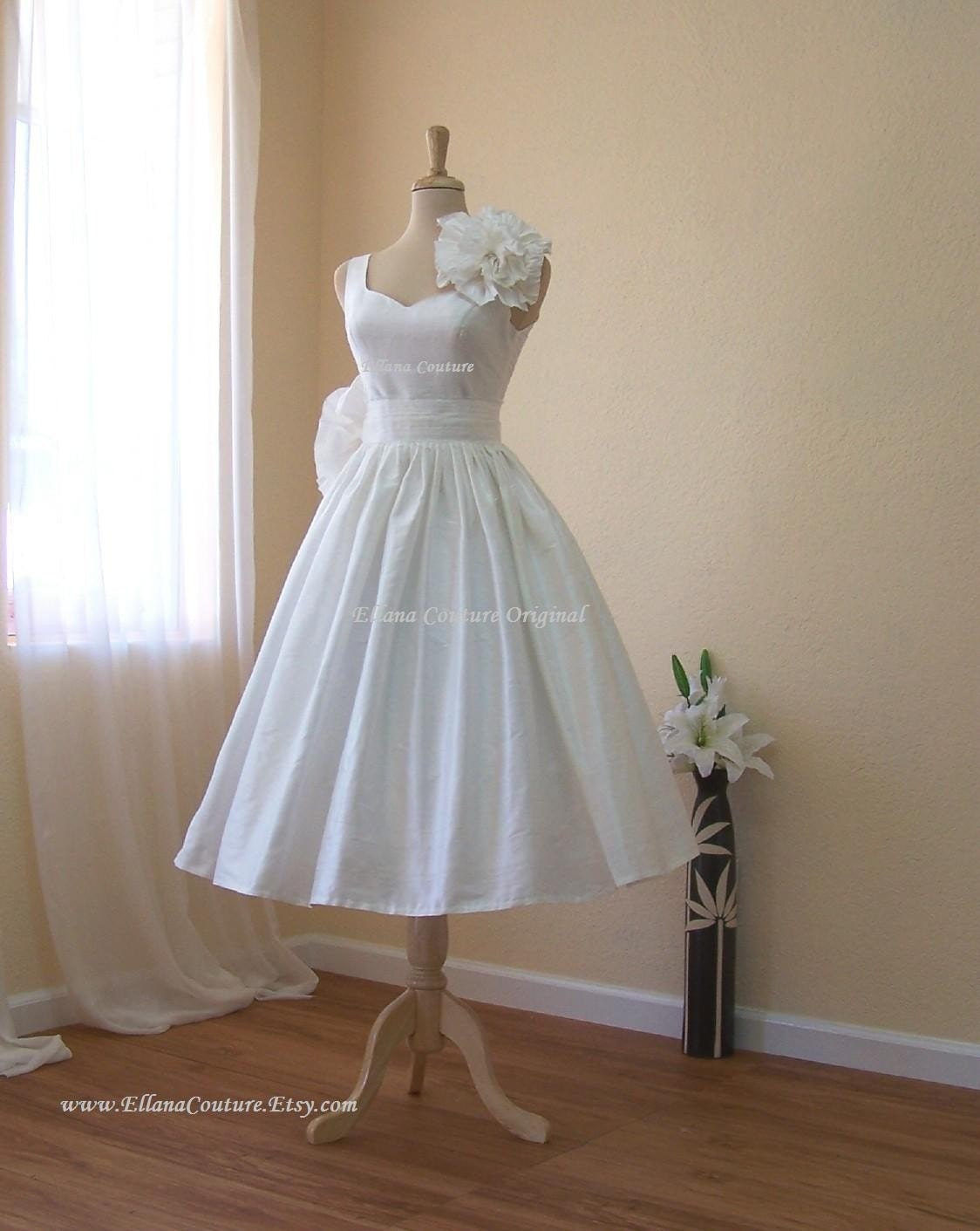 Magnolia vintage inspired wedding dress tea length for Wedding dress on etsy
