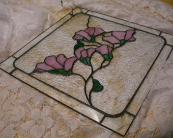 Stained Glass pink budding flower branch panel or suncatcher