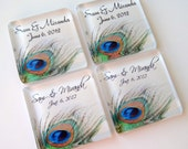 Peacock Feather Wedding Favors - Wedding Favor Magnets - 50 Personalized Favors - 1 3/8 Inch Glass Squares - Personalized