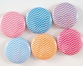 Chevron Magnets - 1 Inch Button Magnets - Set of Six Button Magnets