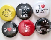 Music Magnets - 1 Inch Button Magnets - Set of Six Button Magnets