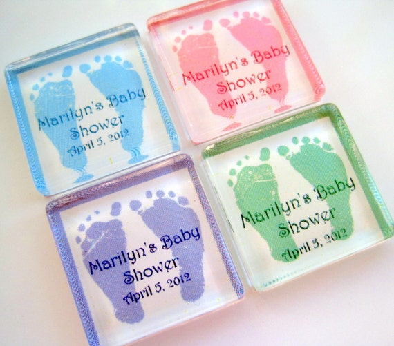 Baby Shower Favor Magnets 1 Inch Glass by StuckTogetherMagnets