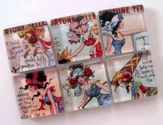 Magnets - Fortune Teller Magnets - Set of Six 1 Inch Square Strong Magnets