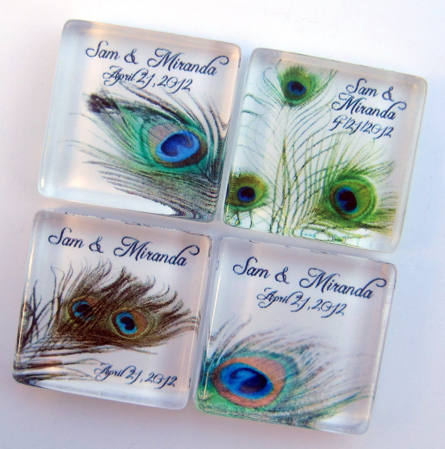 Peacock Wedding Favors Personalized By StuckTogetherMagnets