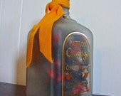 Recycled Liquor Lamp- Patron Citronge Tequila Bottle with Orange christmas lights - Ready to Ship