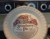 Vintage Ceramic Strawberry Pie Plate and Baking Dish 1960s