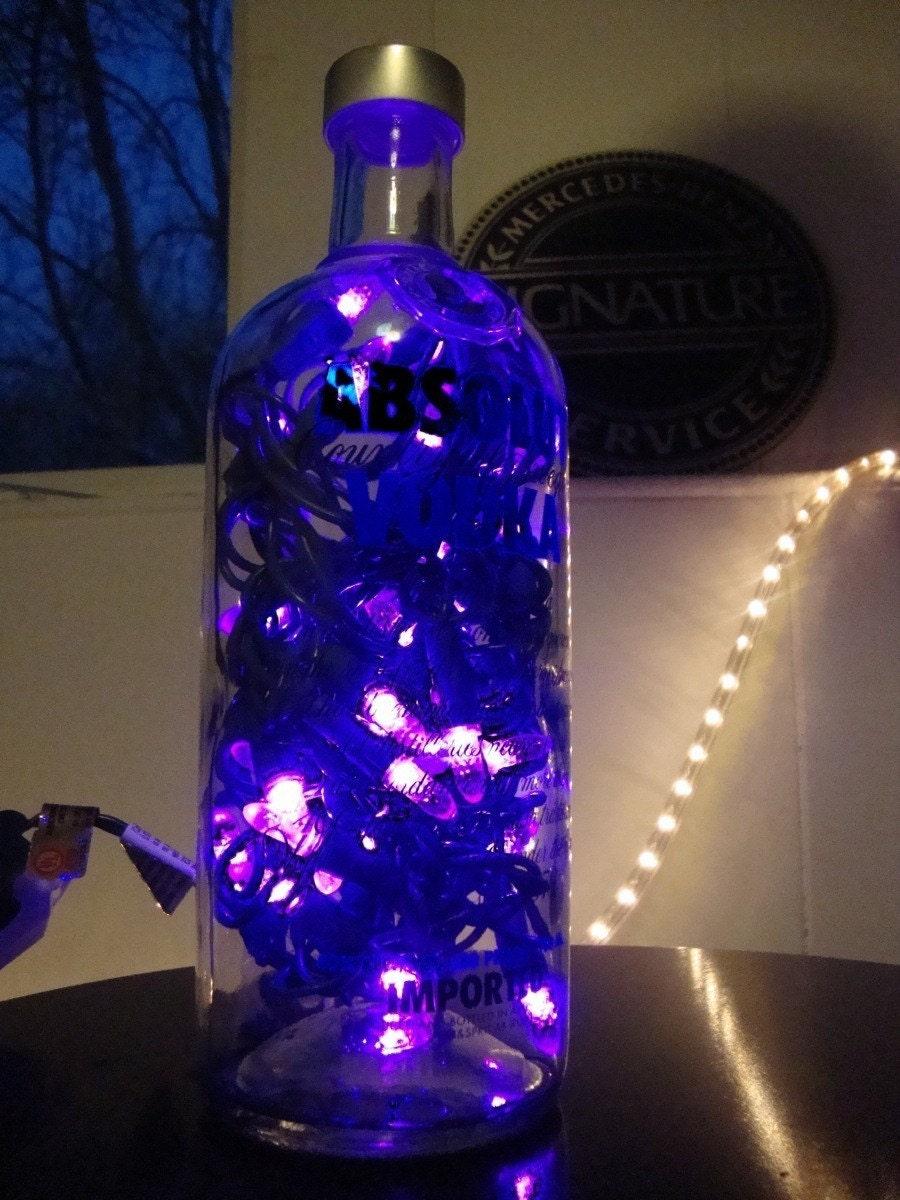 Custom Made Liquor Lamp Absolute Bottle With Purple Led