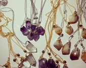 TWO Dipped Raw Crystal Quartz Citrine Amethyst Point Boho Necklaces - One for you, one gift