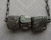 Raw pyrite cubes minimalist fools gold necklace