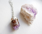 natural amethyst crystal core sample necklace - silver dipped