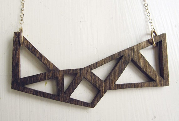 laser cut baltic birch and 14k gold geometric necklace - LAST ONE