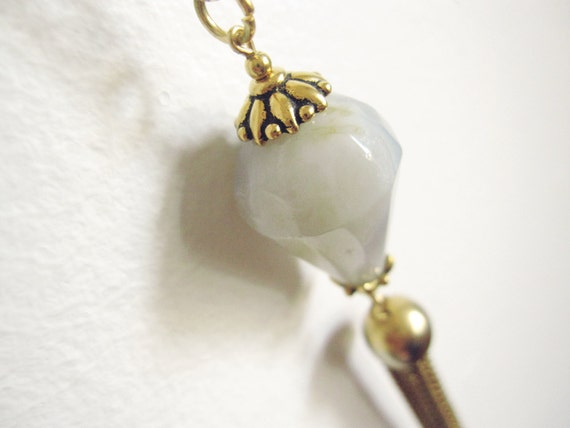 Crystal pendulum faceted white agate and vintage brass tassel lantern necklace