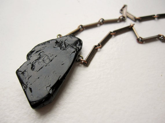 freeform black tourmaline crystal slab necklace - natural black stone and vintage brass jewelry