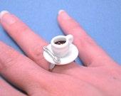Coffee Ring - Miniature Cup of Coffee or Tea - Caffeine Junky