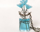Vase of Flowers Necklace - Tiny Glass Vase with 3 Aqua Blue Flowers