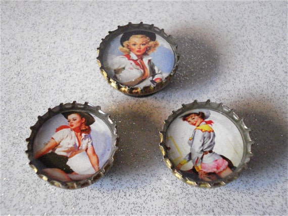 3 Bottle Cap Magnets - Rowdy Cowgirls