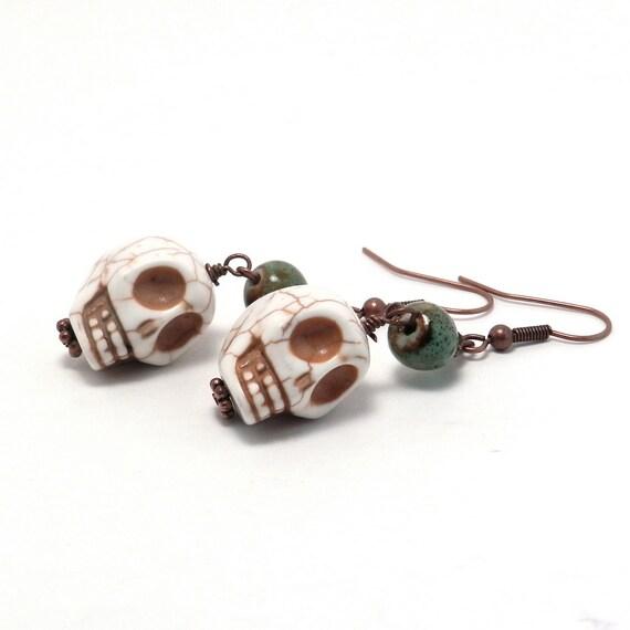 Earrings - Halloween - Sugar Skulls with Green Ceramic Beads
