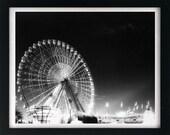 State Fair of Texas Ferris Wheel 24x30 Black and White Infrared Film Print