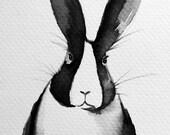 Original watercolor painting -- rabbit