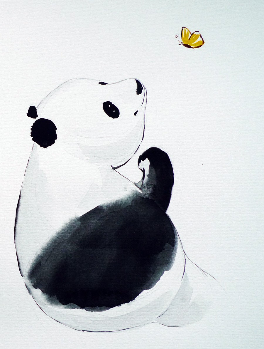 Original Watercolor Painting Panda With Butterfly