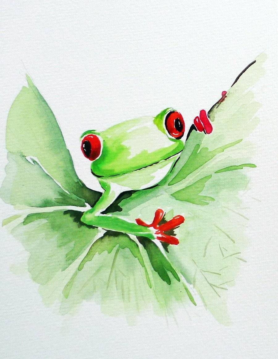 Original Watercolor Painting Frog