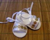 Christening White and Gold Infant Sandals - Size 0 to 3 Months